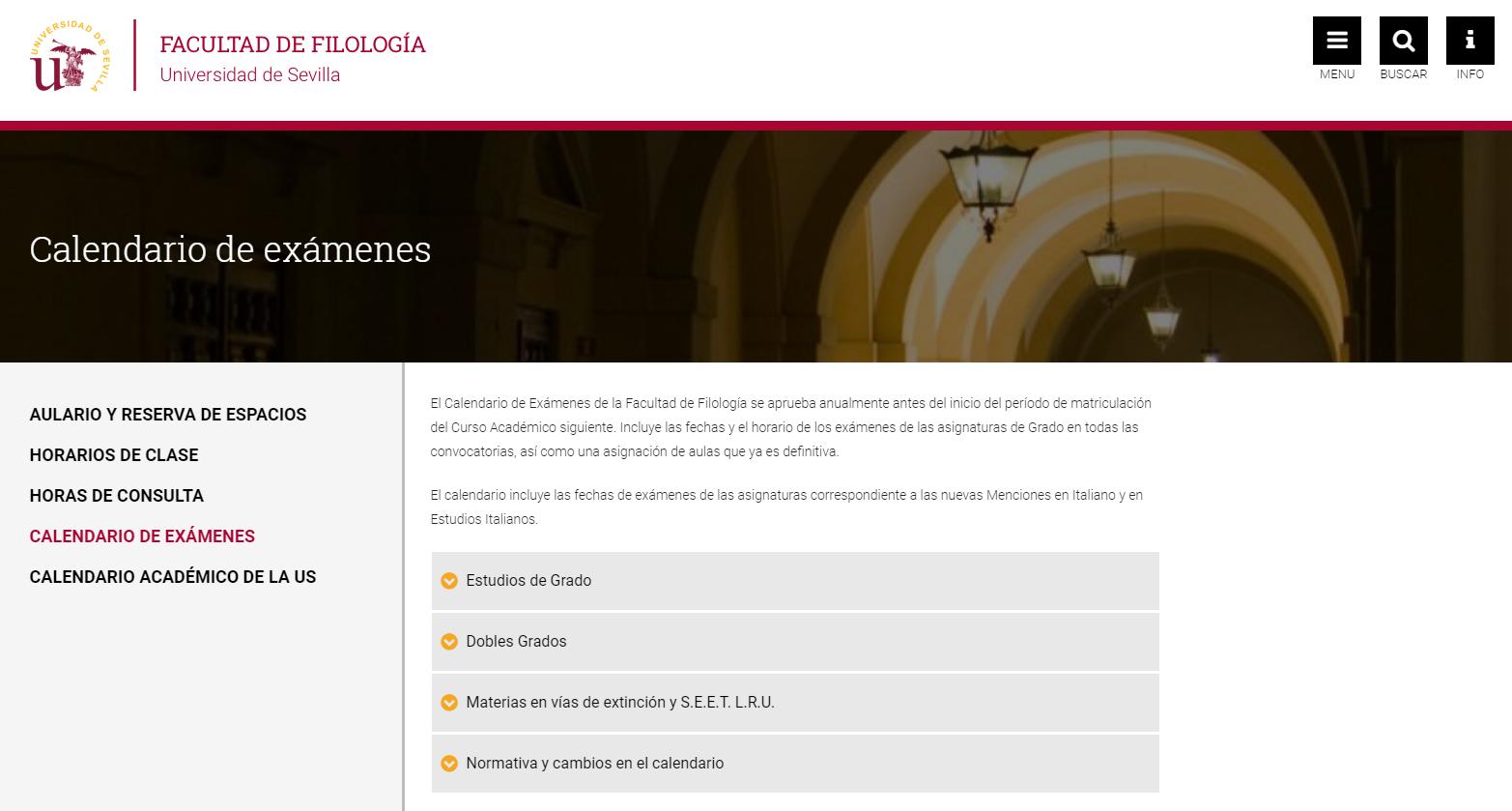 Calendario Academico Us.Calendario De Examenes 2018 2019 Facultad De Filologia De La